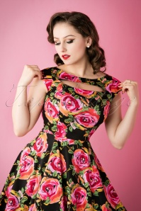 Hearts and Roses Cut Out 50s Floral Roses Swing Dress 102 14 17109 20151118 035W