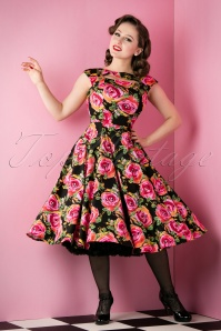 50s Selma Floral Swing Dress in Black