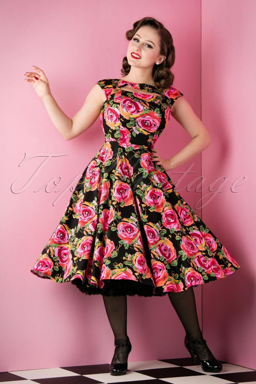 50s Selma Floral Swing Dress In Black