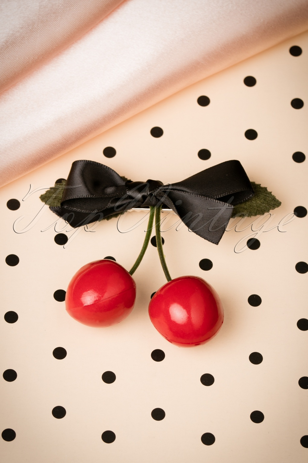 1960s Costume Jewelry – 1960s Style Jewelry 60s Put Some Cherries in Your Hair Clip £4.36 AT vintagedancer.com