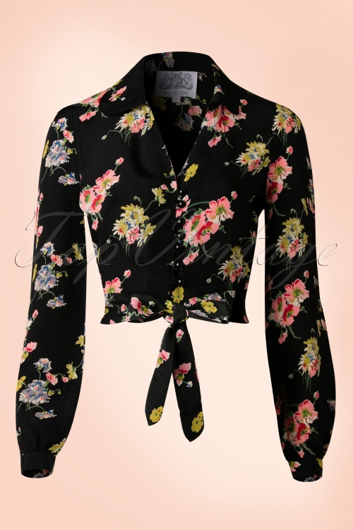 The Seamstress of Bloomsbury Clarice Floral Blouse in Black 112 14 17475 20151201 0005W