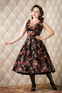 Eleanor Floral Swing Dress Années 1950 en Noir