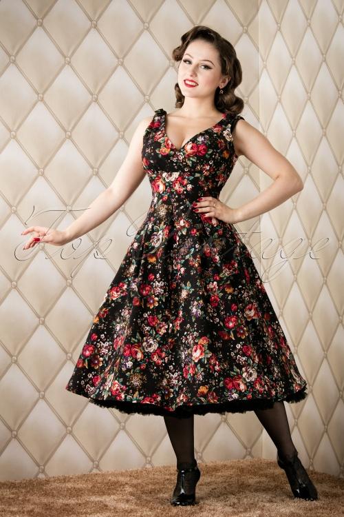 Whispering Ivy Black floral swing dress 102 14 16446 20151118 001W