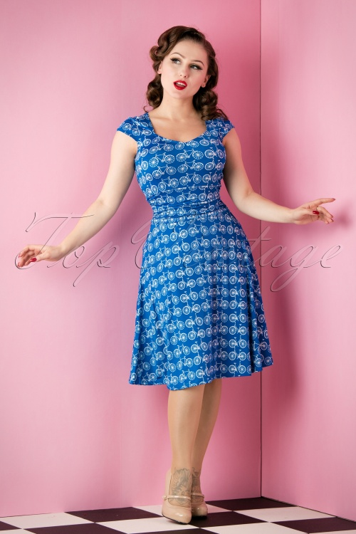 Retrolicious Blue Bicycle Dress 10513 20151118 008W