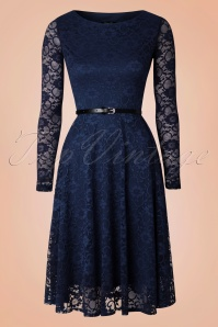 Vintage Chic Navy Lace Longsleeve Dress 102 20 17305 20151202 0008W