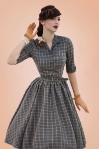 Limited Edition ~ 50s Idda Tartan Swing Dress in Grey