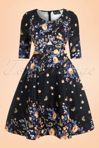50s Phoebe Winter Butterfly Swing Dress in Black