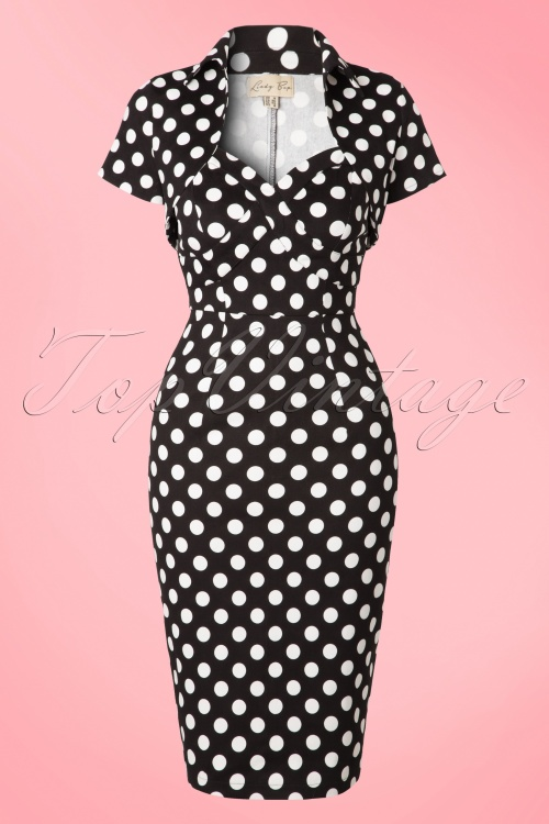 Lindy Bop Zsa Zsa Black Pencil Bolero Polkadot Dress 100 14 17603 20151203 0004WA