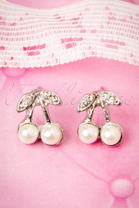 Silver Cherry Earrings Années 50