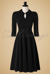 50s Florence Velvet Swing Dress in Black