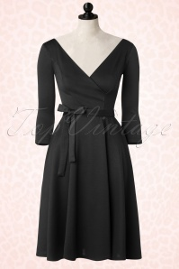 50s Donna Swing Dress in Black