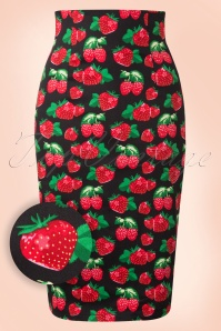 50s Falda Strawberry Pencil Skirt in Black