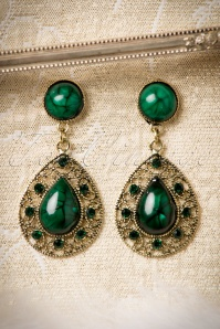 30s Green Malachite Drop Earrings