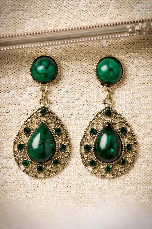 30s Green Malachite Drop Earrings