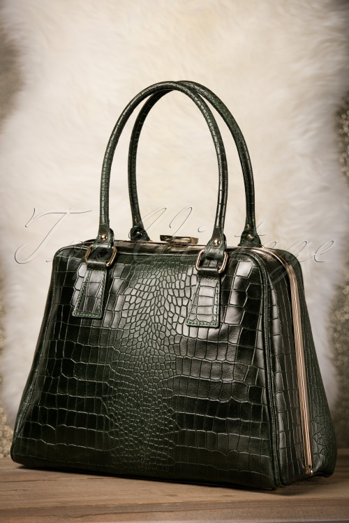 VaVa Vintage Green Leather Croc Bag 17669 12082015 007W