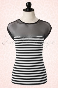 50s Delinquent Top in Black and White Stripes