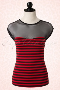 50s Delinquent Top in Black and Red Stripes
