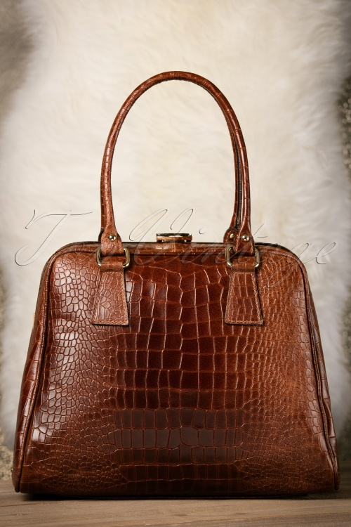 VaVa Vintage Brown Leather Croc Bag 17668 12082015 013W