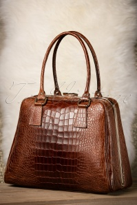 VaVa Vintage Brown Leather Croc Bag 17668 12082015 007W