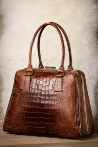 VaVa Vintage Brown Leather Croc Bag 17668 12082015 007W