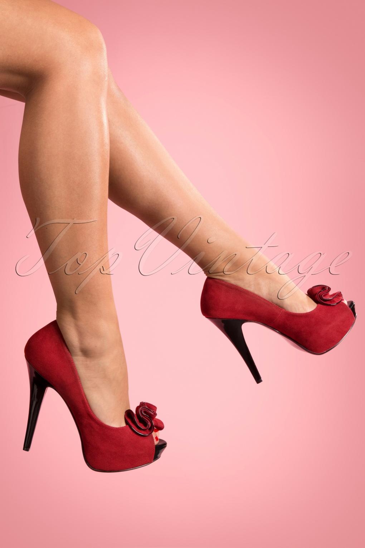 Pin Up Shoes- Heels & Flats Lolita platform pump red faux suede £54.55 AT vintagedancer.com