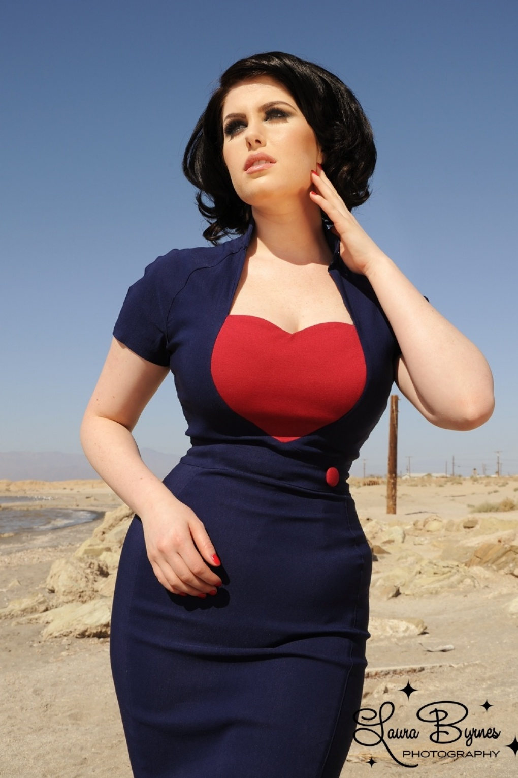 50s Veronica Dress in Navy with Red Heart