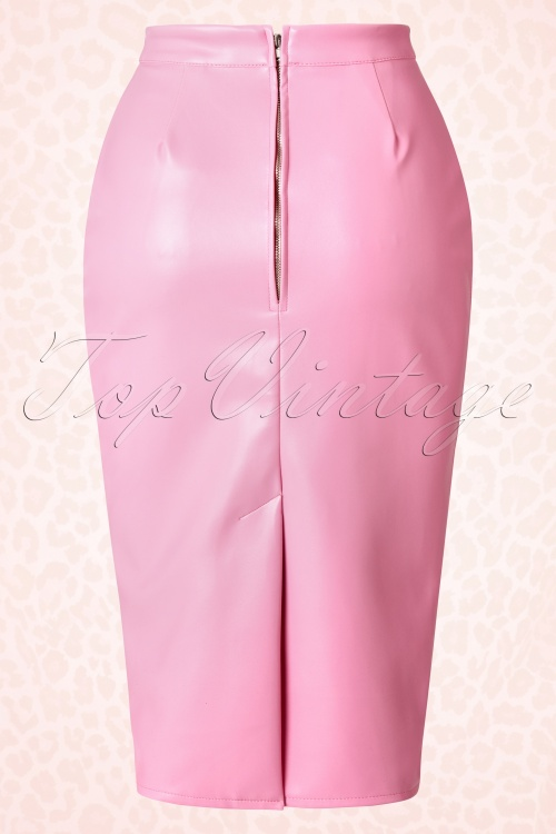50s Deadly Dames Curves Skirt in Pink Faux Leather