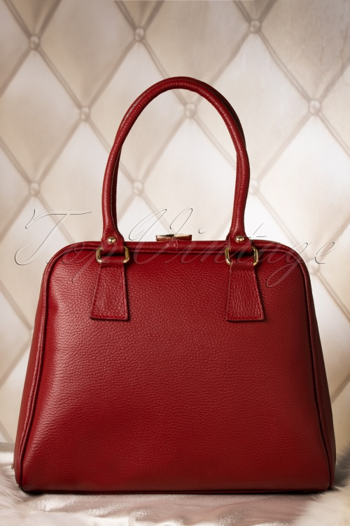Vava Vintage 60s Chic Suitcase Handbag in Burgundy genuine leather 212 20 10012 20151216 0039W