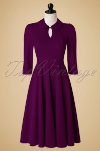 50s Florence Velvet Swing Dress in Purple