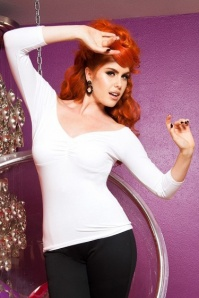 50s Deadly Dames Jailbird Top in White