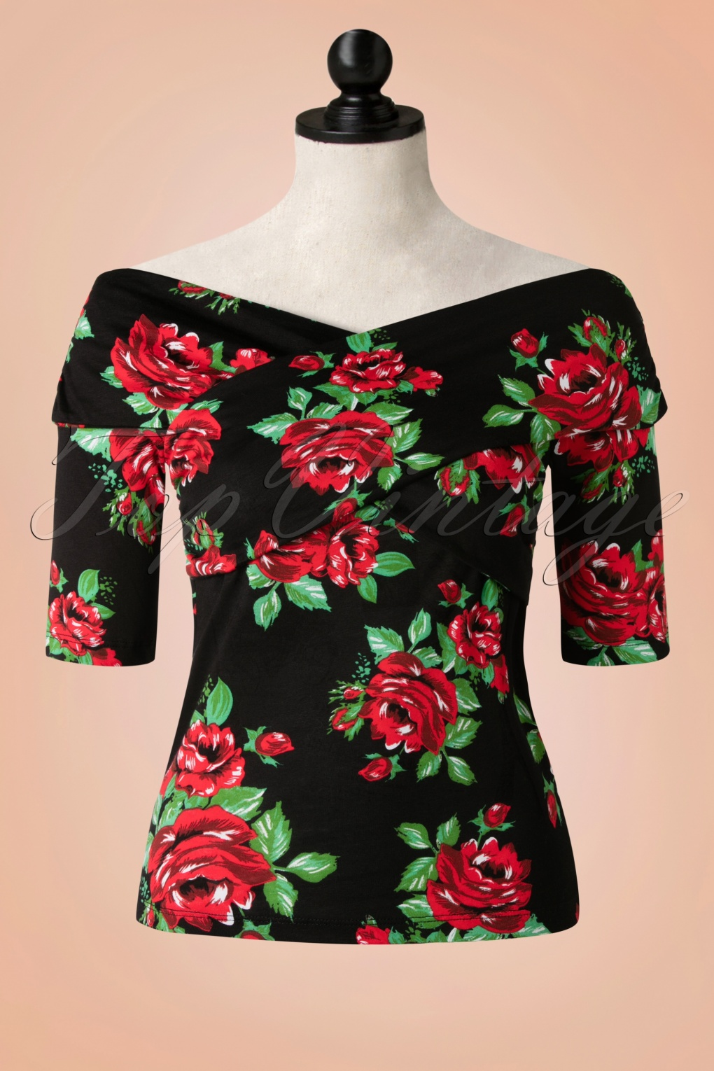 50s Divine Roses Top In Black