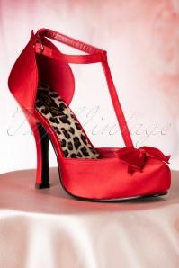 Pinup Couture  50s Cutiepie T Strap D'Orsay Red Satin platform pumps 10887 20151217 0005W