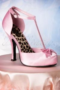 Pinup Couture  40s Cutiepie T Strap D'Orsay Pink Satin platform pumps 10886 20151217 0073W