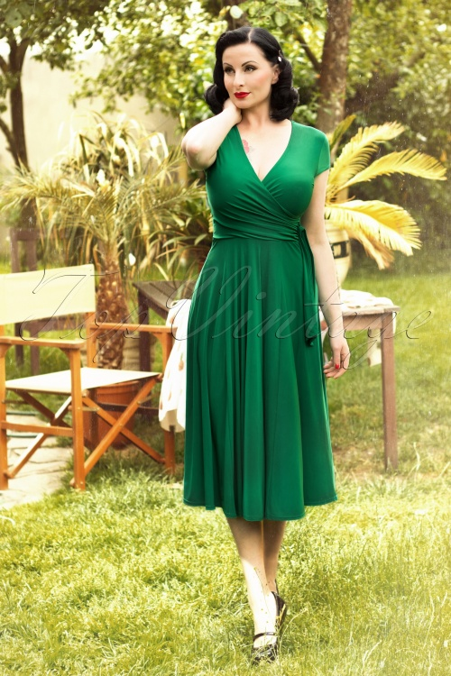 Topvintage Exclusive 50s Layla Cross Over Dress In Green