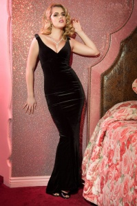 Pinup Couture Gilda Black Velvet Gown 108 10 17242 7