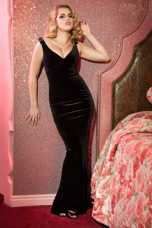 30s Laura Byrnes Gilda Gown in Black Velvet