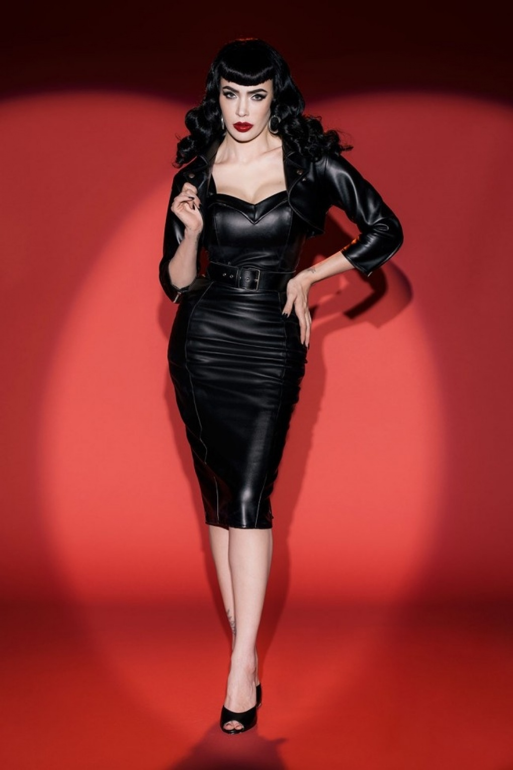 50s deadly dames downtown dame dress in black faux leather