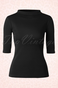 Heart of Haute Black Turtle neck Super Spy Top 113 10 17027 20160105 0004W