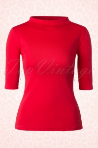 Heart of Haute Red Turtle neck Super Spy Top 113 20 17028 20160105 0004W