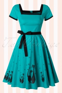 Bettie Page Clothing Simone Jade Blue 40s Cat Dress 102 39 17026 20160105 0011W