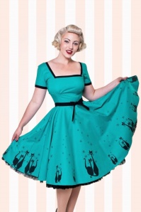 Bettie Page Clothing Simone Jade Blue 40s Cat Dress 102 39 17026 1