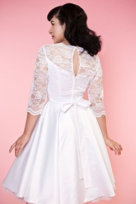 Bettie Page Clothing Collette White Lace Bow Wedding Dress 102 50 16183 4