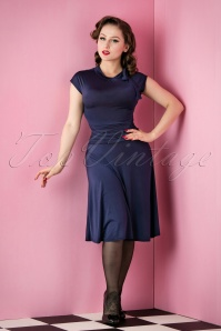 50s Bridget Bombshell Dress in Navy