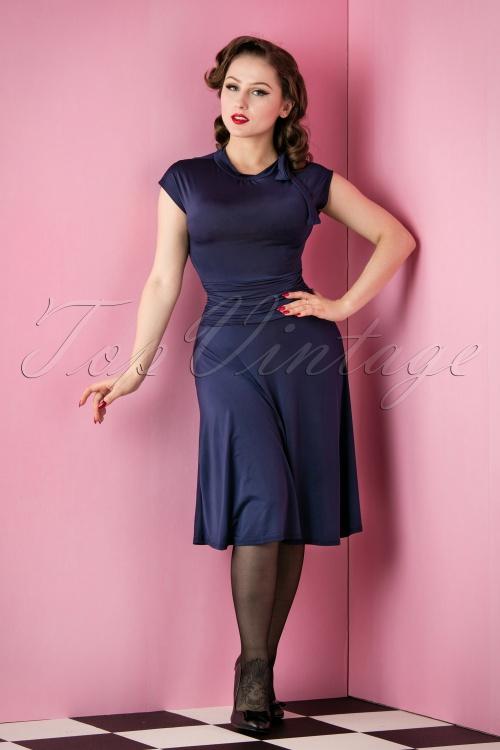 Retrolicious Bridget Navy Blue Bombshell Dress 102 31 15651 20151118 010AW