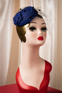 50s Jemima Wool Hat in Navy
