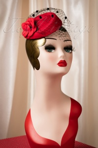 50s Jemima Wool Hat in Red