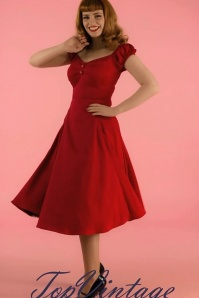 50s Dolores Doll Swing Dress in Red