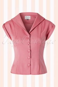 50s Dream Master Short Sleeve Blouse in Dusty Pink