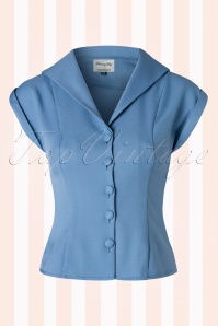 50s Dream Master Short Sleeve Blouse in Misty Blue