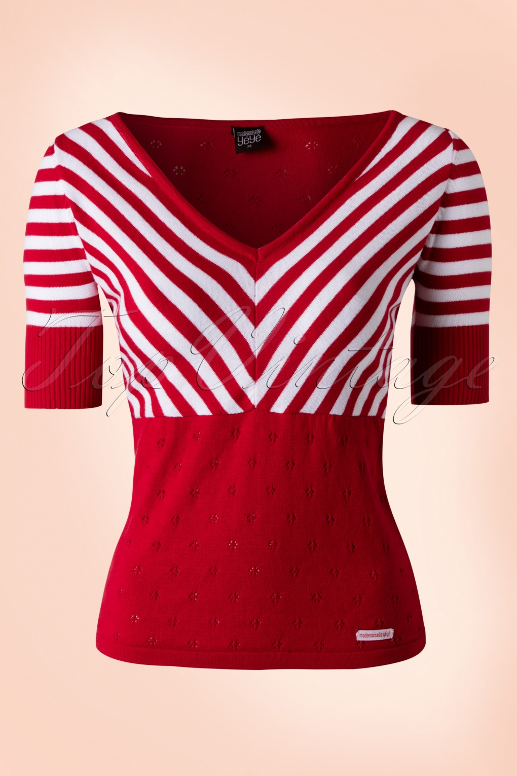 Striped Boatneck Bow Top - in Red and White by Steady Striped top with a flattering boat neck collar. Stripes are set off by the contrast trim cuff and neckline and bow detail.
